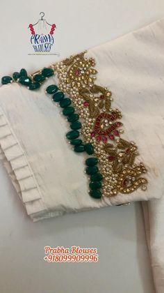 Saree Kuchu Designs, Fancy Blouse Designs, Kurta Designs Women, Bridal Blouse Designs, Blouse Neck Designs, Blouse Patterns, Hand Work Blouse Design, Stylish Blouse Design, Bead Embroidery Patterns
