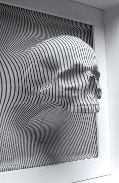 Eyes Without a Face Op Art, Sculpture Art, Sculptures, Arte Linear, Instalation Art, Arte Robot, Creation Art, Skateboard Design, Illusion Art
