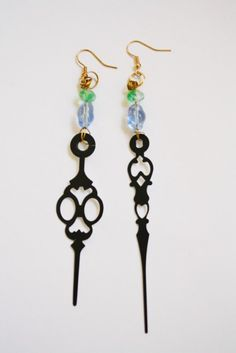 Steampunk Clock Hand Earrings  Pastel by mannequinreject on Etsy