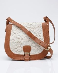 over the shoulder purse with white lace and leather