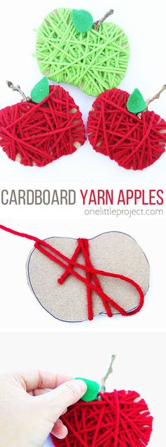 These yarn wrapped cardboard apples are SO EASY to make! And they're so cute! This is such a simple fall craft idea for kids! They would be so sweet attached to a teacher gift. You could even glue a magnet on the back and stick it on the fridge! It's a great activity for both little and big kids alike!