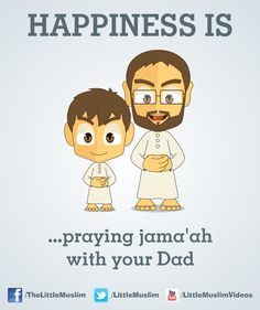 """ISLAM: """"Happiness is praying jama'ah with your dad"""" _____________________________ Reposted by Dr. Veronica Lee, DNP (Depew/Buffalo, NY, US)"""