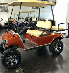 Club Car DS Orange Metallic lift, tires on black & machined wheels Golf Carts For Sale, Custom Golf Carts, Best Golf Cart, Electric Golf Cart, Equipment For Sale, Small Cars, Patio Design, Golf Ball, Ds