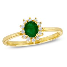 Oval Emerald and Diamond Ring in 10K Gold. A princess-perfect look, give the May-born birthday girl a gift fit for royalty! Beautifully fashioned in elegant 10K gold, this ring features a striking 5.0 x 4.0mm oval-shaped emerald gemstone bordered with a sparkling frame of diamond accents. Simple yet oh-so-stunning, this brightly polished ring is certain to become a go-to look she'll adore. This item is only available online.. Price: $186.15