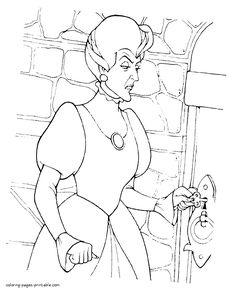 Stepmother to Cinderella coloring pages. Disney villain