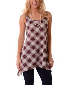 Look at this Lbisse Red Plaid Sleeveless Sidetail Tunic on #zulily today!