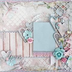 Premade 12 x12  Shabby Chic Scrapbook Layout, Blue Fern Studios, Prima,  Album, Wedding, Butterflies