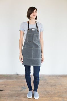 Womens Slate Waxed Canvas Artisan Apron w/ Black by ArtifactBags   Jillian has this with cotton straps