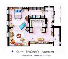 Carrie Bradshaw's ( #sexandthecity ) Apartment Layout
