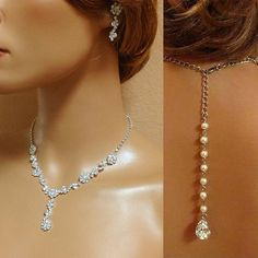 (( FREE matching earrings are included ))    Rosana -Bridal necklace earrings, bridal jewelry set, Bridal back drop necklace ,crystal jewelry, pearl