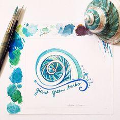 Gouache Giant Green Turbo Seashell Painting. Copyright Amalia Hillmann