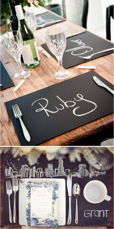 Hmmmm cheap placemats, painted in chalkboard paint....elegant and different for parties