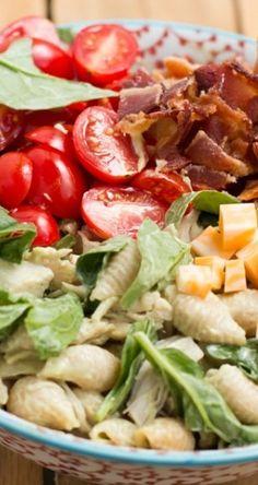 California Club Pasta Salad Recipe ~ quick and easy pasta salad that tastes like your favorite california turkey club!