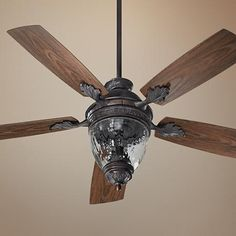"52"" Quorum Georgia Sienna Patio Ceiling Fan with Light Kit"