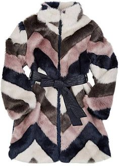 Toddler/Girls Imoga Chevron-Pattern Faux-Fur Coat! kids fashion, girls coat, winter kids clothing, girls clothing