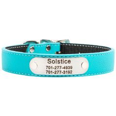 We adore this new color - Tropical Turquoise!   Personalized Designer Italian Leather Dog Collars