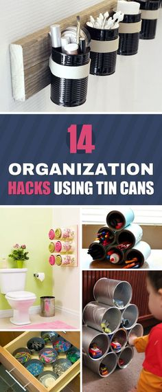 14 DIY Organization Hacks With Tin Cans You are in the right place about Home Diy Organizations smal Diy Organizer, Organizing Hacks, Organization Hacks, Diy Hacks, Rustic Crafts, Decor Crafts, Diy Crafts, Home Exterior Makeover, Tin Can Crafts
