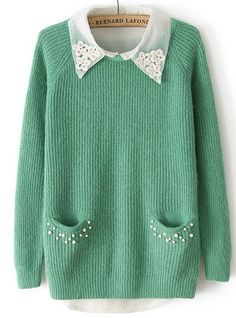 Green Long Sleeve Pearls Pockets Two Pieces Sweater EUR€27.92