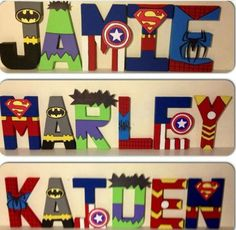Superhero letters avengers marvel dc comics wall by maaadesigns deco chambre bb, deco chambre garcon Superhero Letters, Superhero Names, Superhero Room Decor, Superhero Wall Art, Avengers Room, Painted Letters, Letter Wall, Boy Room, Room Baby