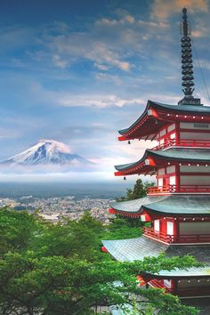 "elvenlake: "" Mt Fuji & Chureito Pagoda "" Shot by Peter Stewart at Chureito Pagoda, Fujiyoshida Japan's Mt. Fuji is an active volcano about 100 kilometers southwest of Tokyo. Monte Fuji, Japan Nature, Wonderful Places, Beautiful Places, Japon Tokyo, Japan Landscape, Visit Japan, Japanese Architecture, Okinawa"