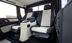 Rear passengers in the Mercedes-Benz G63 AMG 6x6 get comfy seats and a center console.