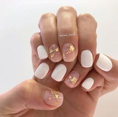 neutral nails with sparkle \ neutral nails ; neutral nails with sparkle ; neutral nails with accent ; neutral nails for pale skin ; Cute Nail Art Designs, White Nail Designs, Neutral Nail Designs, Neutral Nail Art, Foil Nail Designs, Short Nail Designs, Cute Nails, My Nails, Gelish Nails