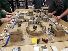 Skirmish Tournament table featuring the Landing Bay and Desert themed terrain - very nice setup! --------------------- 📸cred: Robert H Star Wars Figurines, Dungeon Maps, Tabletop Games, Small World, Diorama, Landing, Miniatures, Base, Tips