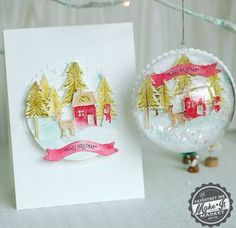 Watercolor card and ornament using the Make It Market Tinsel & Tags kit from papertreyink.com