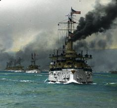 Gorgeous colorized photo of the US Atlantic Fleet entering San Francisco Bay during the World Cruise, 6 May 1908