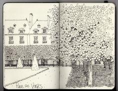 Ian Sidaway Fine Line: Paris Sketch Journal, Pen Sketch, Art Journal Pages, Travel Sketchbook, Artist Sketchbook, Landscape Drawings, Sketchbook Inspiration, Ink Pen Drawings, Urban Sketching