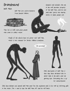 For some reason a lot of people suddenly started asking about Well Men, so I made one of my messy info pictures for them. This is literally all the info there is on Well Men as far as I know. Not a lot, but it gives you a lot of room for story ideas. Mythical Creatures Art, Mythological Creatures, Magical Creatures, Character Design Inspiration, Writing Inspiration, World Mythology, Roman Mythology, Greek Mythology, Myths & Monsters