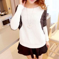 [grxjy560821]Contrast Color Batwing Loose Fit Fluffy Knit Sweater