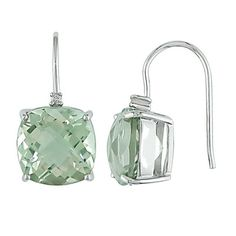 Amour Collection 10K White Gold Green Amethyst and Diamond Stud Earrings (.02 Cttw, G-H Color, I1-I2 Clarity) $222.00