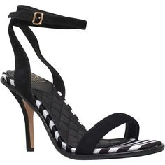 KG by Kurt Geiger Ibiza Stiletto Sandals , Black/White Leather ($115) ❤ liked on Polyvore featuring shoes, sandals, high heel stilettos, high heel sandals, black and white sandals, strap sandals and strappy sandals
