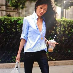 I have a shirt like this! will wax my jeans to get this casual cool look.