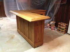 home oak bar - stained Wet Bar Basement, Basement Bar Plans, Basement Bar Designs, Home Bar Designs, Basement Ideas, Basement Kitchen, Diy Home Bar, Diy Bar, Bars For Home