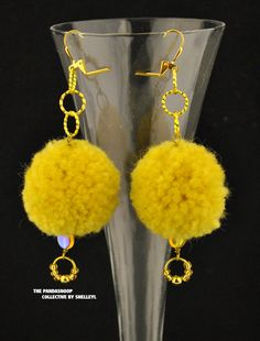 Glamourpuss Gold and Yellow pom pom earrings.  Handmade wool golden glass beads twisted wire BOHO fun party sparkle dance partytime love by ShelleyLChalmers on Etsy