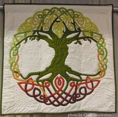 """Tree Full of Life, 34 x 34"""", by Susan Cronenwett, Oregon, USA.  2014 PIQF. Photo by Quilt Inspiration."""