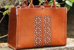 Handmade vintage rustic leather normal size tote bag shoulder bag handbag for women