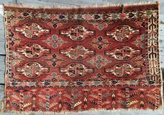 Nine gul Yomud Chuval with beautiful 100% natural dyes. C.1860. Good condition except left border cut off and right border missing a bit. Some offset knotting. Back is granular and somewhat dry  ...