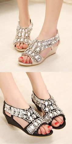 9dcc24a2f400 Metallic Sand Wedges Sandals Resorts Rubber Soled Neon Sandal High Heels  Married Butterfly