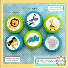 Möbelgriffe - 6er Set Kinder Möbelgriffe Möbelknöpfe Zootiere - ein Designerstück von die-Moebelgriff-Stylisten bei DaWanda