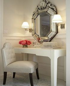 BM Atrium White Massucco Warner Miller: Gorgeous Dressing Room With  Venetian Mirror, White Vanity, Leather Tufted Vanity Chair, .