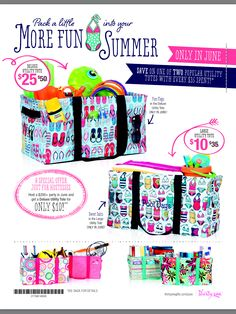 Thirty One Summer 2014 June Monthly Special! Get your discounted products in June at www.mythirtyone/com/WhateverFloatsYourTotes Thirty One Bags, Thirty One Gifts, 31 Gifts, Baby Gifts, Thirty One Consultant, Independent Consultant, Thirty One Business, Large Utility Tote, 31 Bags