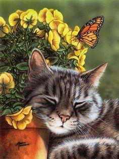 Sleeping cat painting. Marilyn Barkhouse