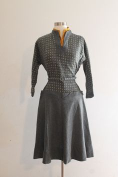 1940s/1950s Grey Wool Dropwaist Dress with Golden Yellow Velvet Detai