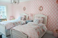 Girls Shared Bedroom - love the stenciled accent wall + @serenaandlily bedding. #kidsroom #biggirlroom