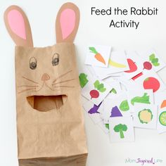 Feed the bunny rabbit activity that you can use to teach colors, letters, letter sounds, and counting!