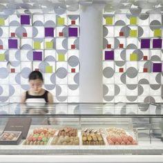 Lukstudio repeats gift-box motif throughout Shanghai macaron shop