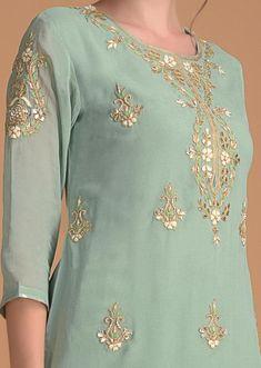 Spruce Green Salwar Suit With Floral Embroidered Neckline And Buttis Online - Kalki Fashion Embroidery On Clothes, Embroidery Works, Embroidery Dress, Designer Punjabi Suits, Indian Designer Outfits, Kurti Designs Party Wear, Kurta Designs, Salwar Kurta, Modest Fashion Hijab